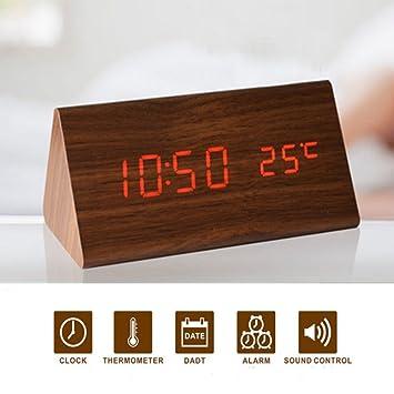 Glovion moderno triángulo de madera sintética de escritorio reloj despertador digital LED de color blanco - tiempo FECHA temperatura voz Control de sonido ...