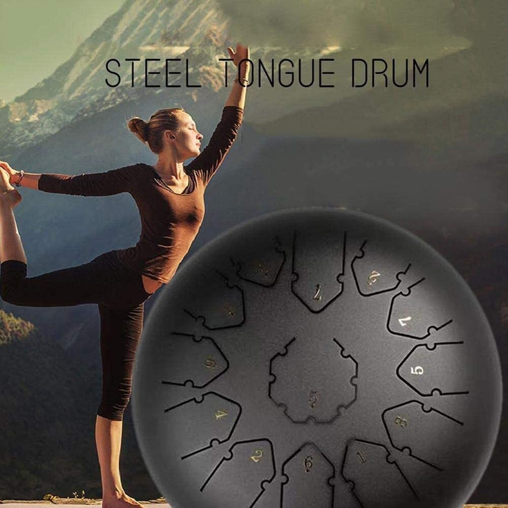 Color : Blue Steel-drums 12 pouces 13 notes langue acier Tambour Mini Pan tambour avec sac tambour rembourr/é et Couple de maillets finition impeccable et paisible son Hang Drum Instrument