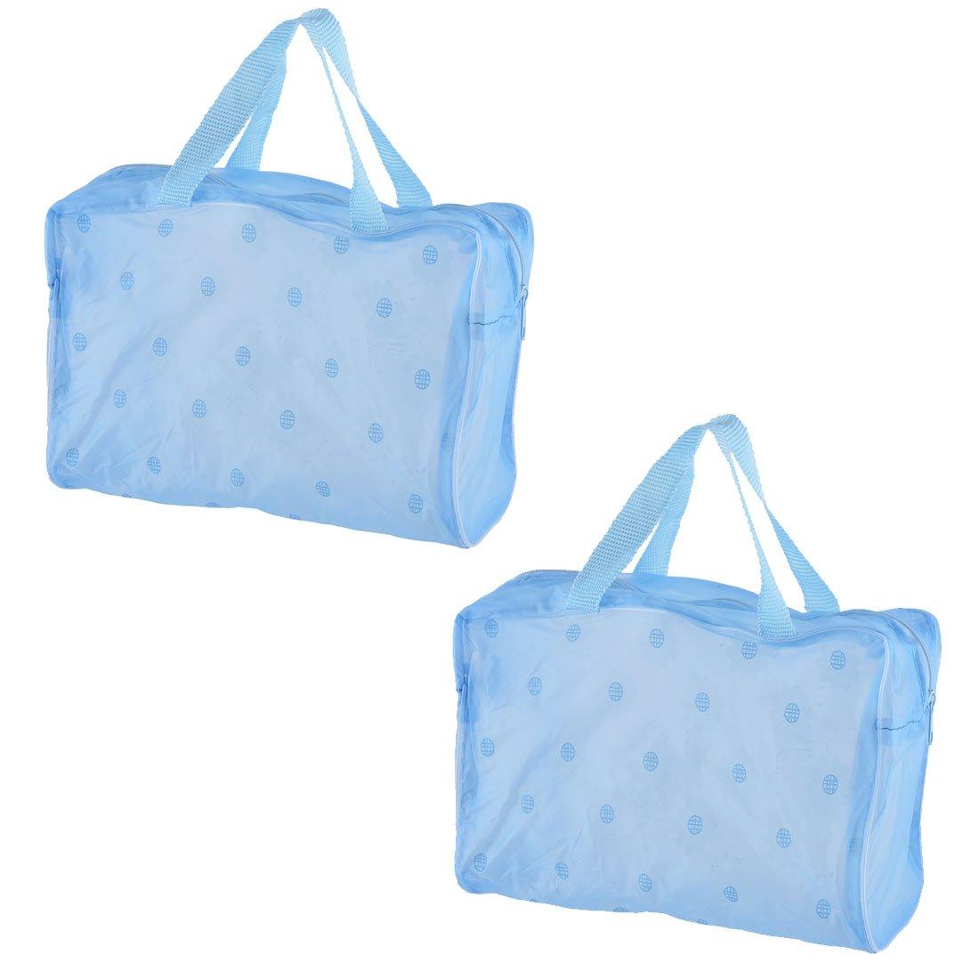 uxcell PVC Travel Makeup Case Toiletry Pouch Holder Wash Bag 2 Pcs Blue w Zipper