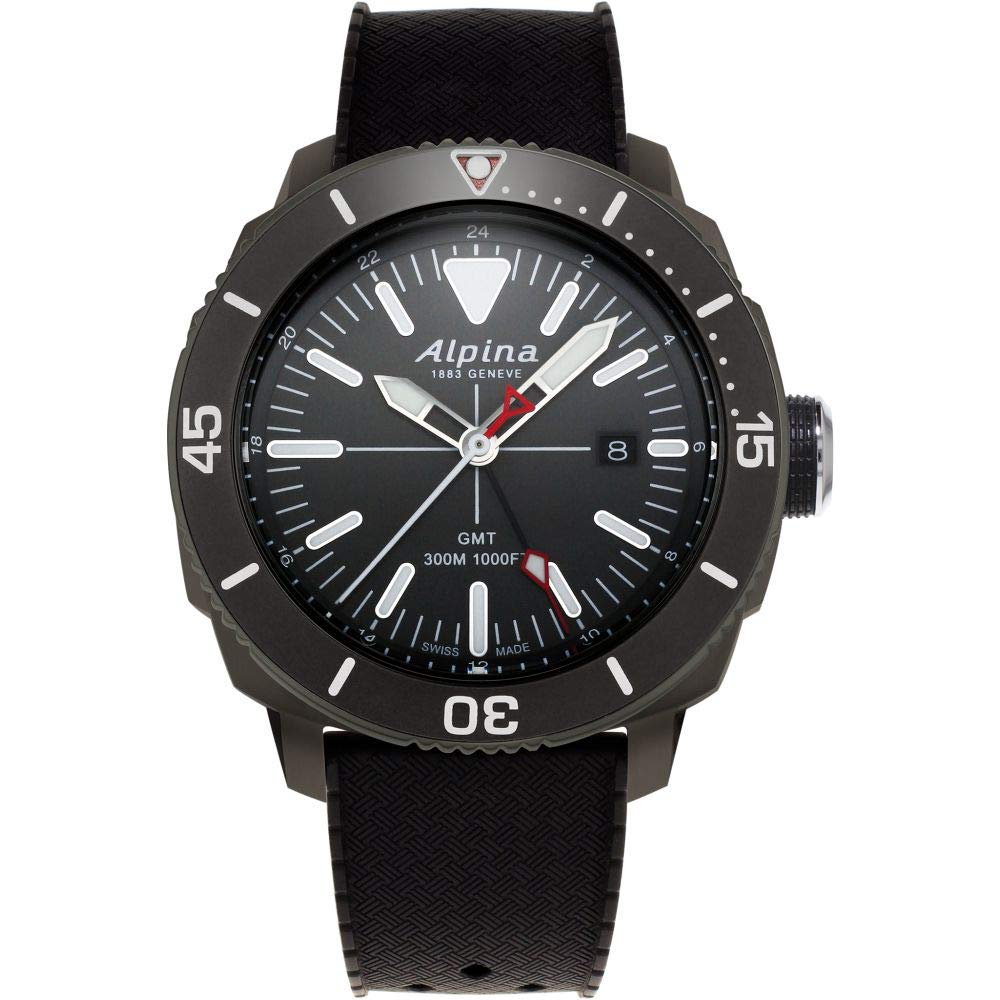 Image of Alpina Men's Seastrong Diver Titanium/Stainless Steel Swiss Quartz Diving Watch with Rubber Strap, Black, 22 (Model: AL-247LGG4TV6) Sport Watches