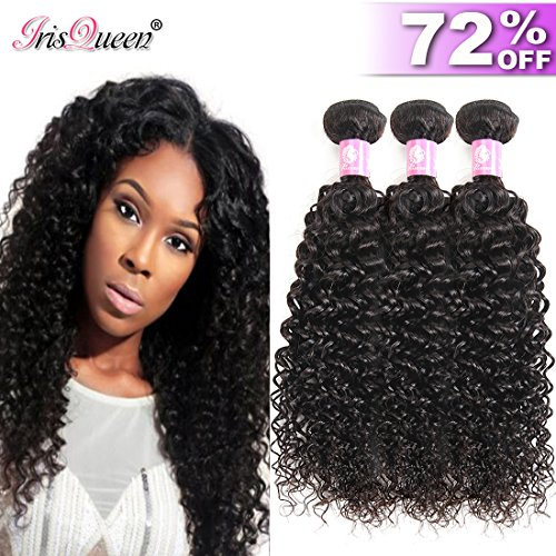 8A Brazilian Kinkys Curly Hair 3 Bundles 16 18 20 inch Unprocessed Virgin Brazilian Kinky Curly Human Hair Weave Extensions Natural Black Brazilian Hair Curly