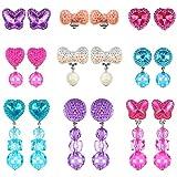 Hicarer 9 Pairs Girls Clip-on Earrings Pretend Princess Play Earrings Jewelry Set