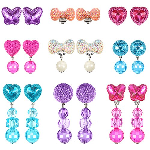 Hicarer 9 Pairs Girls Clip-on Earrings Pretend Princess Play Earrings Jewelry Set by Hicarer