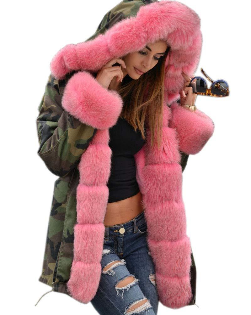 Aox Women Hood Coat Faux Fur Thicken Lined Overcoat Winter Camo Plus Size Jacket Snow Parka Outwear (XL, Army Green)