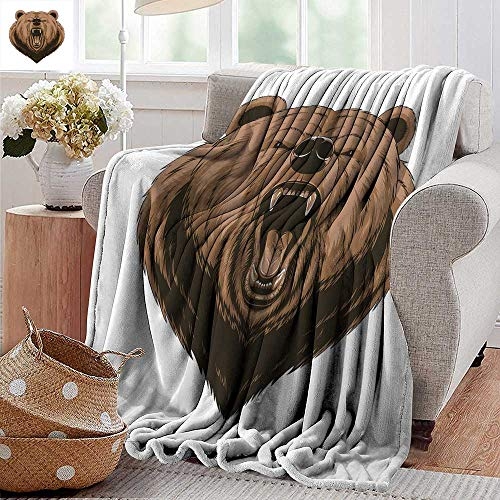 PearlRolan Weighted Blanket Adult,Bear,Angry Scary Face Mascot Head Powerful Vicious Beast Cartoon Mascot with Fangs,Caramel Dark Brown,Soft, Fuzzy, Cozy, Lightweight Blankets -