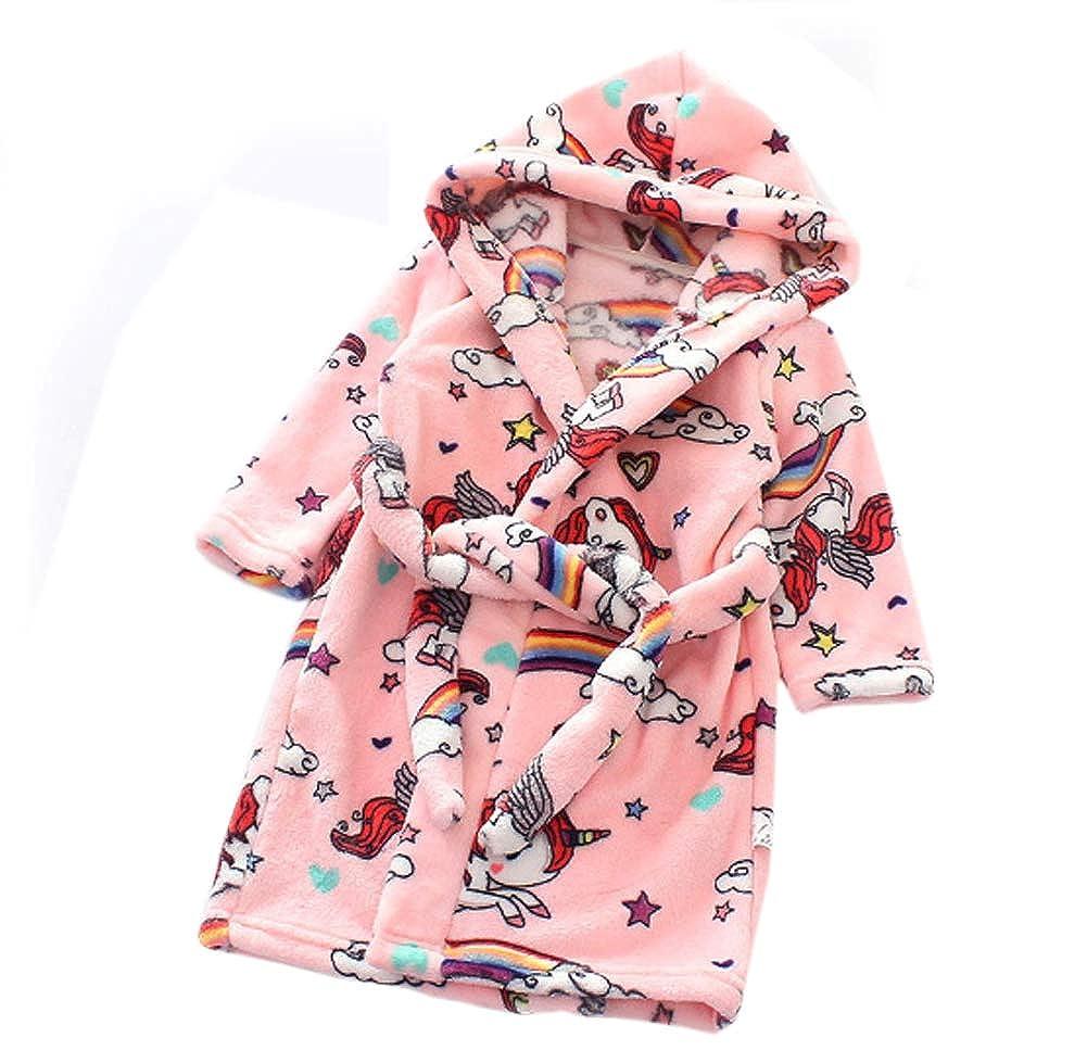 ECHERY Unisex Kids Peignoir À Capuchon Mou pour Tout-Petits Peignoir pour Enfant Flanelle Habillage Robe Pyjama