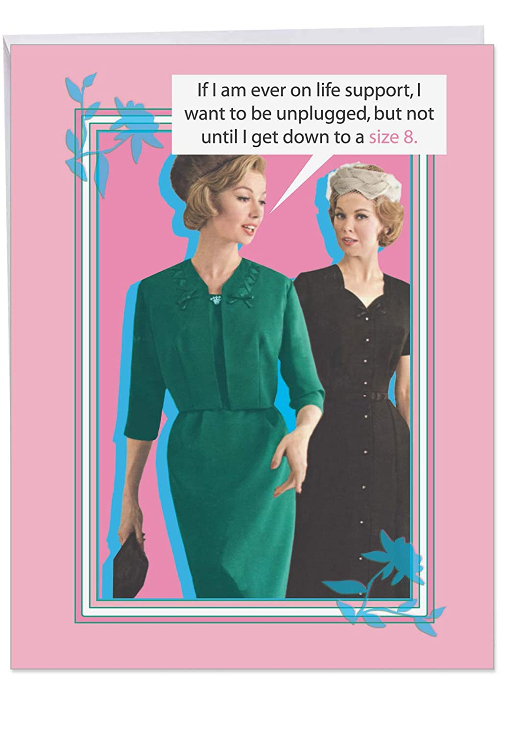 Retro Down To Size 8 Birthday Greeting Card With Envelope Large 85 X 11 Inch