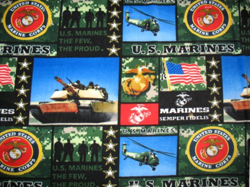 US Marines (New Pattern) Allover Printed Fleece Throw Blanket
