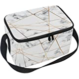 ALAZA White Marble Geometric Insulated Lunch Bag Box Cooler Bag Reusable Tote Bag Outdoor Travel Picnic Bag with Shoulder Strap for Women Men Adults Kids