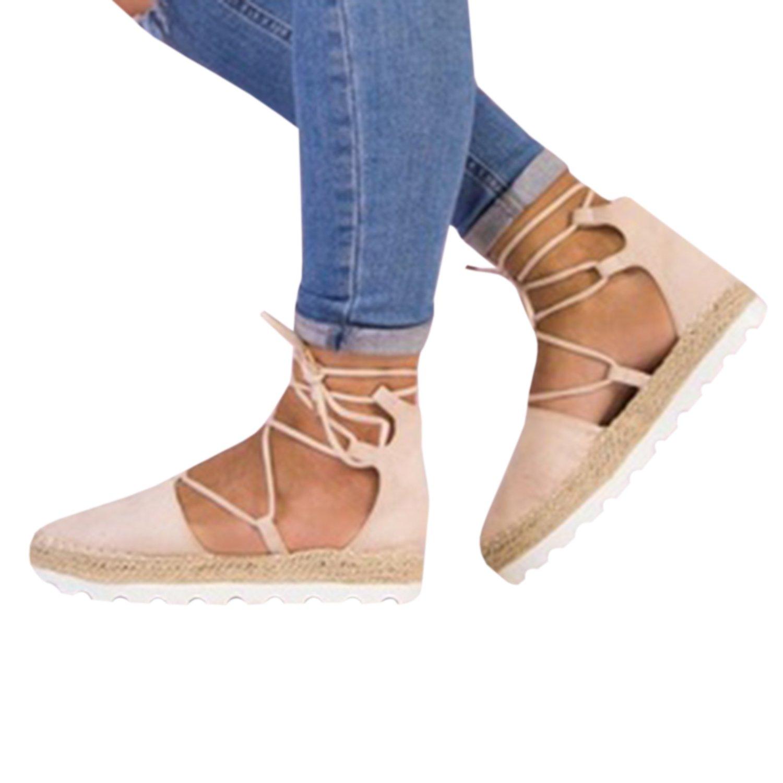 Gemijacka Damen Knouml;chel Schnalle Riemen Espadrilles Ausgeschnitten Binden Niet Klassischen Sommer Flache Sandale Schuhe  36|5-Rosa