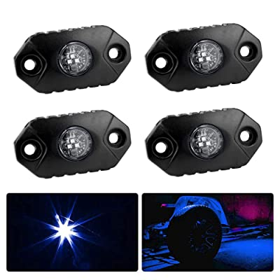 4WDKING Blue LED Rock Lights, 4 Pods IP68 Waterproof Underbody Glow Trail Rig Lamp LED Neon Lights for Truck Jeep Off Road Truck Car Boat ATV SUV Motorcycle: Automotive