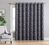 HLC.ME Carol Floral Embroidered Thermal Room Darkening Blackout Window Curtain Grommet Panels for Sliding Glass Patio Doors - Energy Efficient & Extra Wide - (100