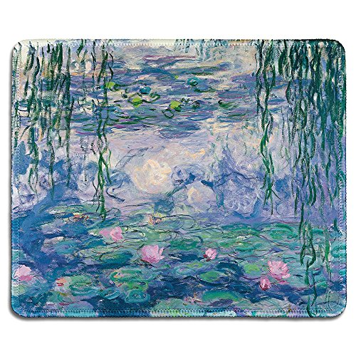 (dealzEpic - Art Mousepad - Natural Rubber Mouse Pad with Famous Fine Art Painting of Waterlilies by Claude Monet - Stitched Edges - 9.5x7.9 inches )
