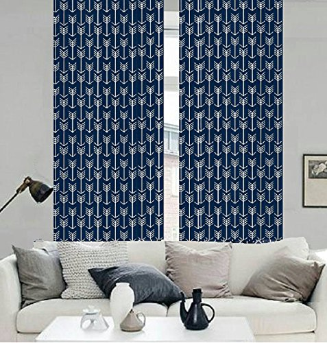 Amazon.com: Blue and White Arrow Pattern Full Length Curtains 100 ...