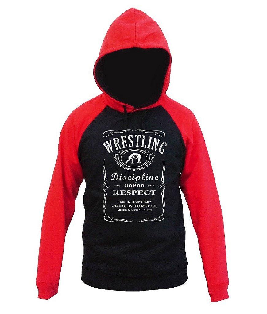 Interstate Apparel MMA Wrestling Whiskey Label Men's Black/Red Raglan Baseball Hoodie Sweater 2X-Large Black