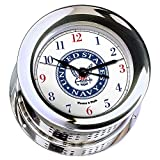 Atlantis Chrome Plated Quartz Clock #NV220500 01C (#9 Emblem Printed in Full Color with Navy Blue and Red Numbers)