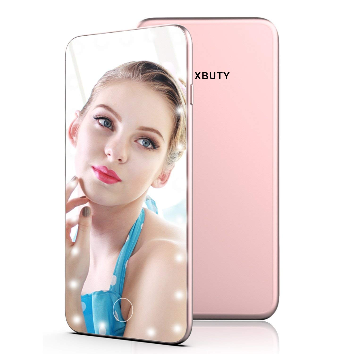 XBUTY Makeup Mirror with Lights Hollywood Style Lighted Vanity Mirror 5.5 Inch Small Hand Mirror Portable Cosmetic Mirror Dimmable Travel Handheld LED Mirror with USB Charging (Rose gold) by XBUTY (Image #7)