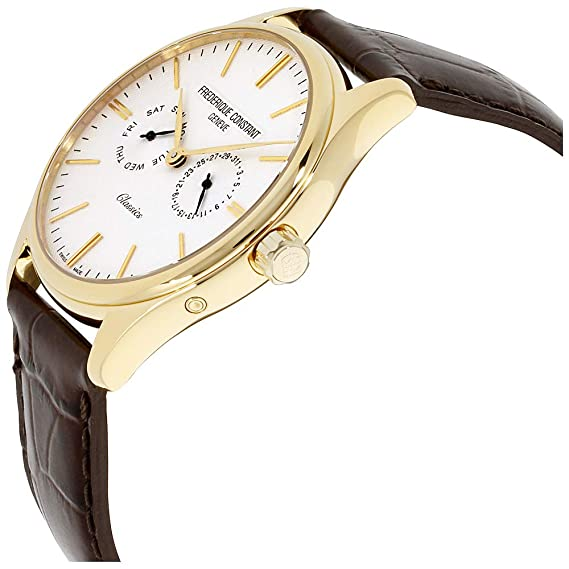 Amazon.com: Frederique Constant Classics Quartz Stainless Steel Plated Yellow Gold Mens Watch - 40mm Analog White Face with Day Date and Sapphire Crystal ...