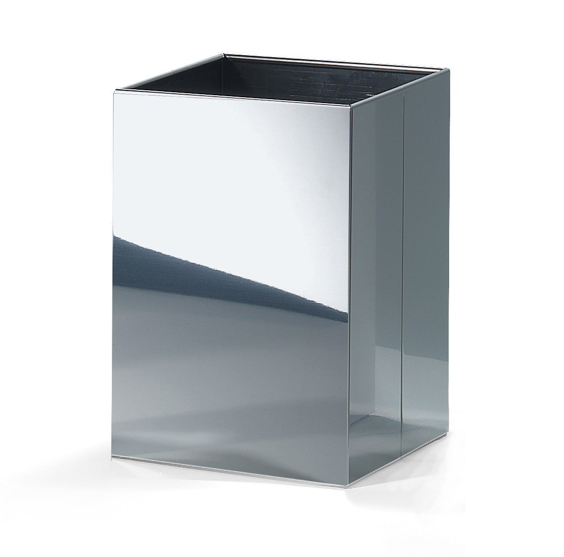 DWBA Square Open Top Trash Can, Stainless Steel Wastebasket W/O Lid Cover (Polished Chrome)