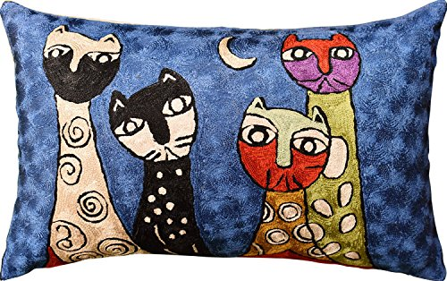 "Kashmir Designs Lumbar Picasso Four Cats Rectangle Pillow Cover Handembroidered Art Silk 13""x21"""