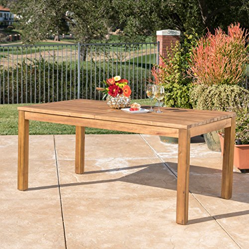 Christopher Knight Home Willim Outdoor Expandable Teak Finished Acacia Wood Dining Table (Patio Rustic Table)