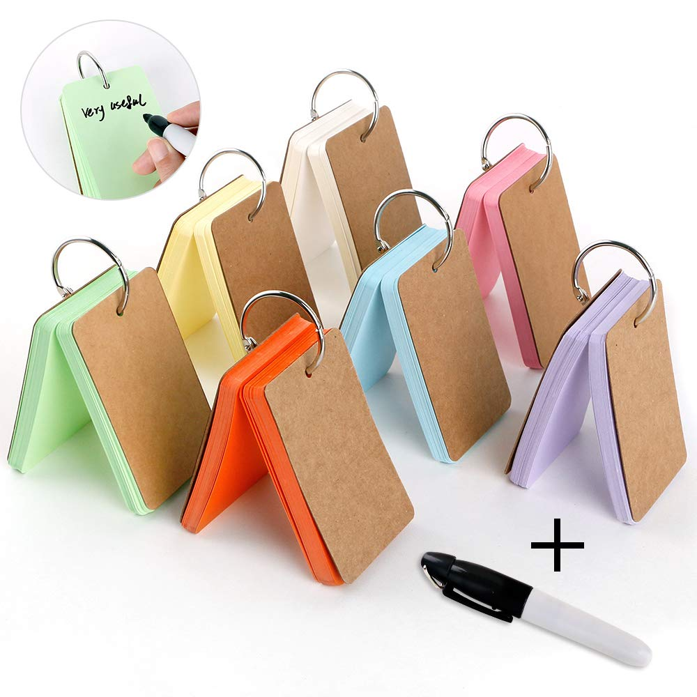 350 Pieces 3.5 x 2.2 Inches Multicolor Kraft Paper Binder Ring Easy Flip Flash Card/Study Cards/Memo Scratch Pads/Bookmark/Note Card/Index Card Stock/DIY Greeting Card(50 Sheets per Set)