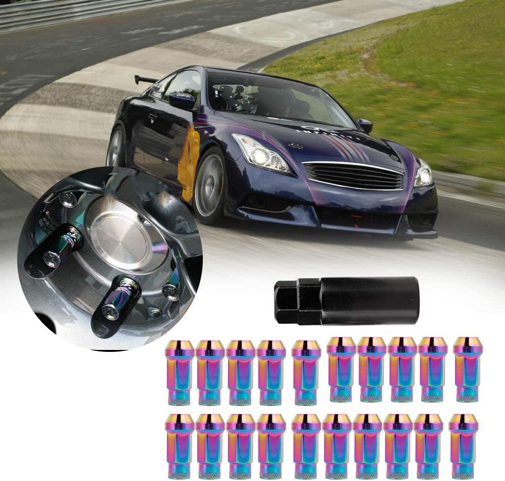 Wheel Bolt,20Pcs M121.25 Stainless Steel Acorn Extended Open End Wheel Racing Lug Nuts with Key