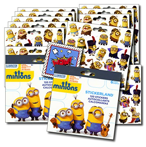 MINIONS Stickers Party Favors - Bundle of 2 Sticker Packs - 12 Sheets 240+ Stickers plus 2 Specialty Stickers! ()