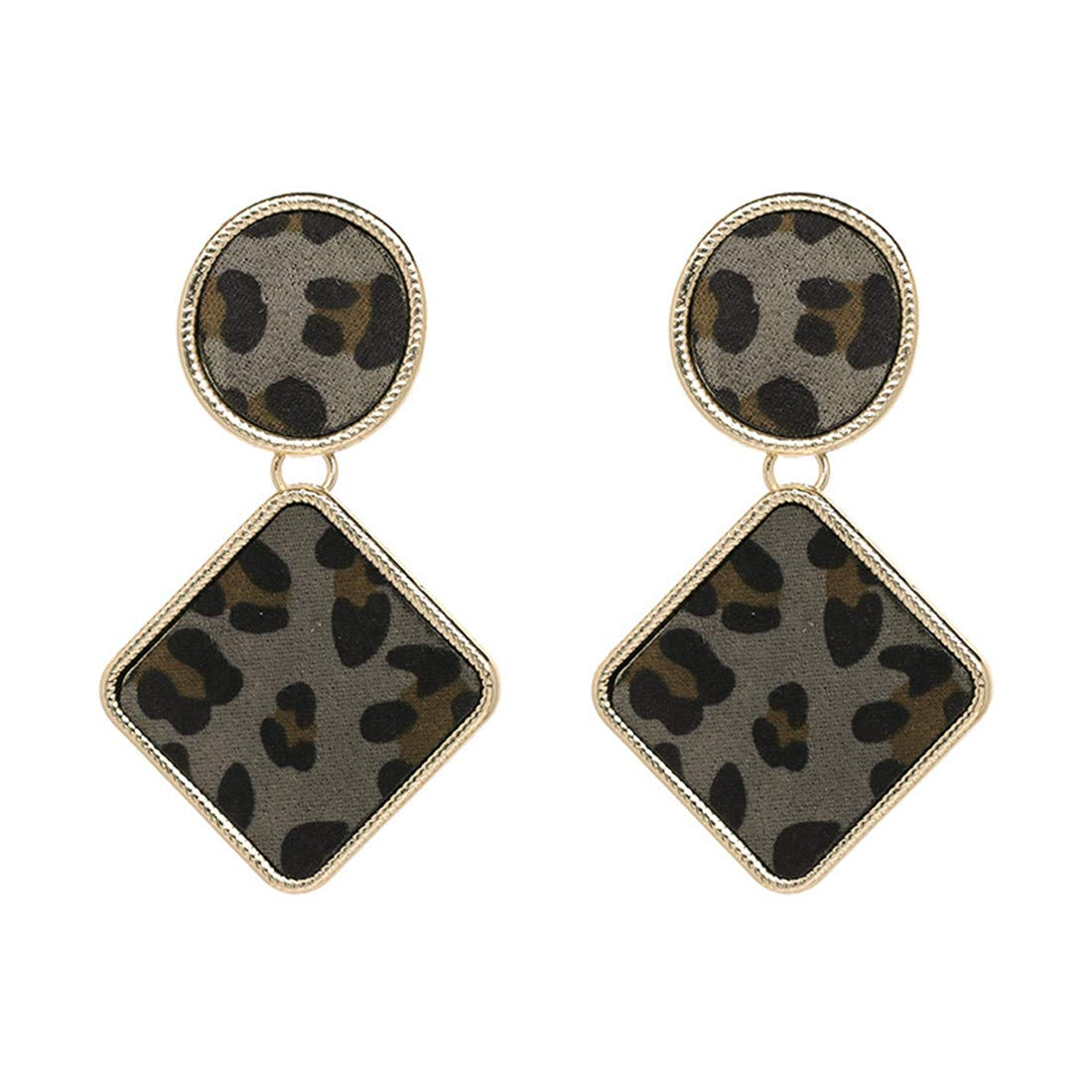 Luxury Colorful Geometry Statement Earrings Gift For Women Girl Birthday Party Leopard Print by Mrsrui
