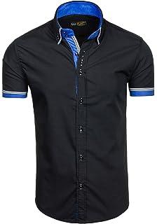 BOLF Herren Freizeithemd Kurzarm Hemd Herrenhemd Slim Fit Party 2B2 Casual f8df7718b2