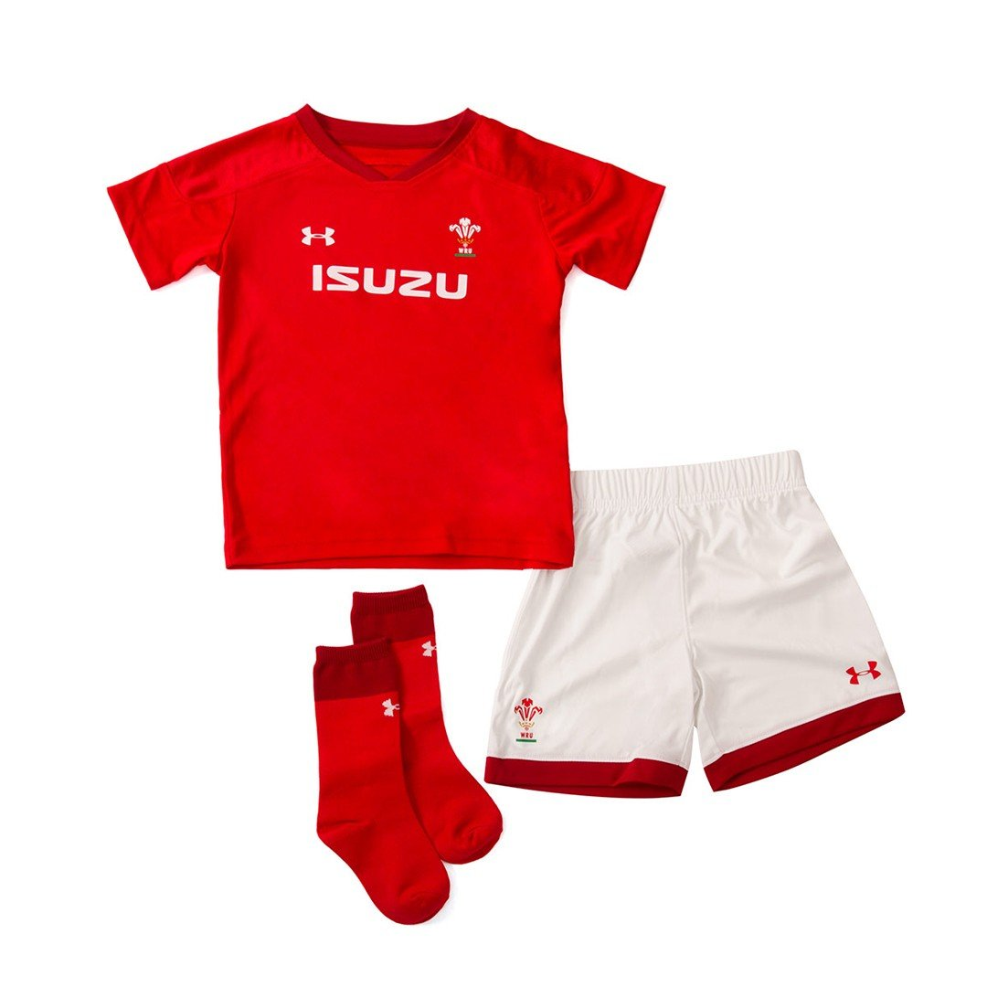 Wales WRU 2017/19 Mini Kids Home Replica Rugby Kit - Red Under Armour 1299010-600