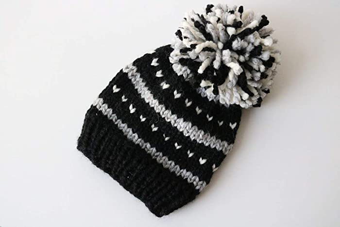 898116950f7 Amazon.com  Knitted Fair Isle Knit Beanie Hat with Pom Pom (Adult).  Handmade in Chunky