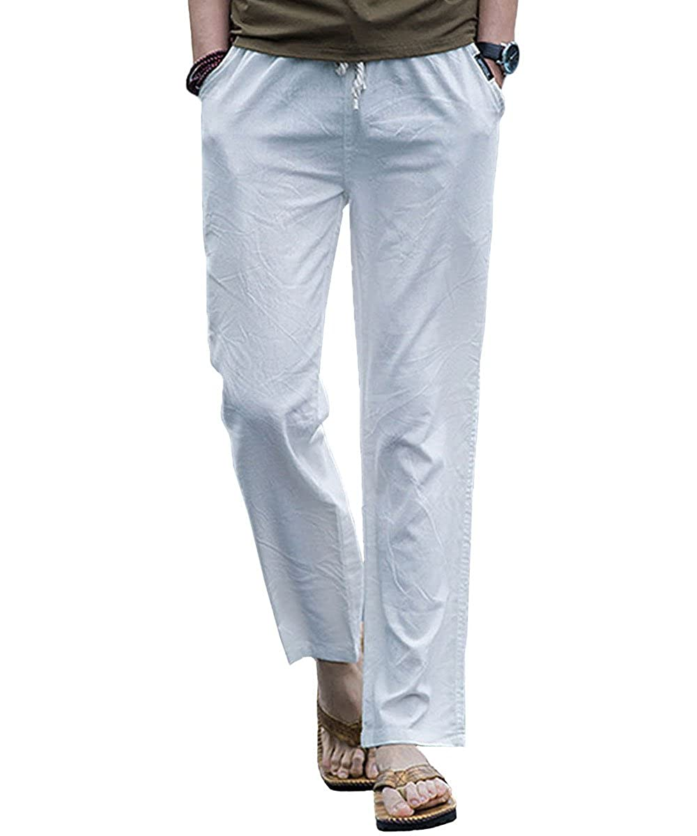 Gopune Men's Casual Pants Linen Trousers Lightweight Elasticated Waist with Pockets