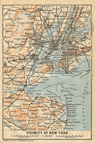 Old Map Of New York.Amazon Com New York City Metro Area Brooklyn Newark Jersey City