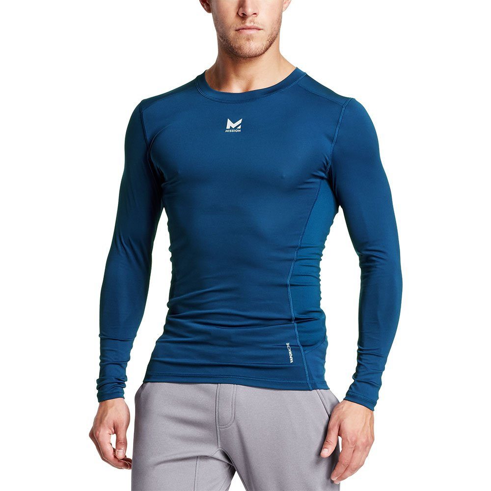 Mission Men's VaporActive Voltage Long Sleeve Compression Shirt, Estate Blue, Small
