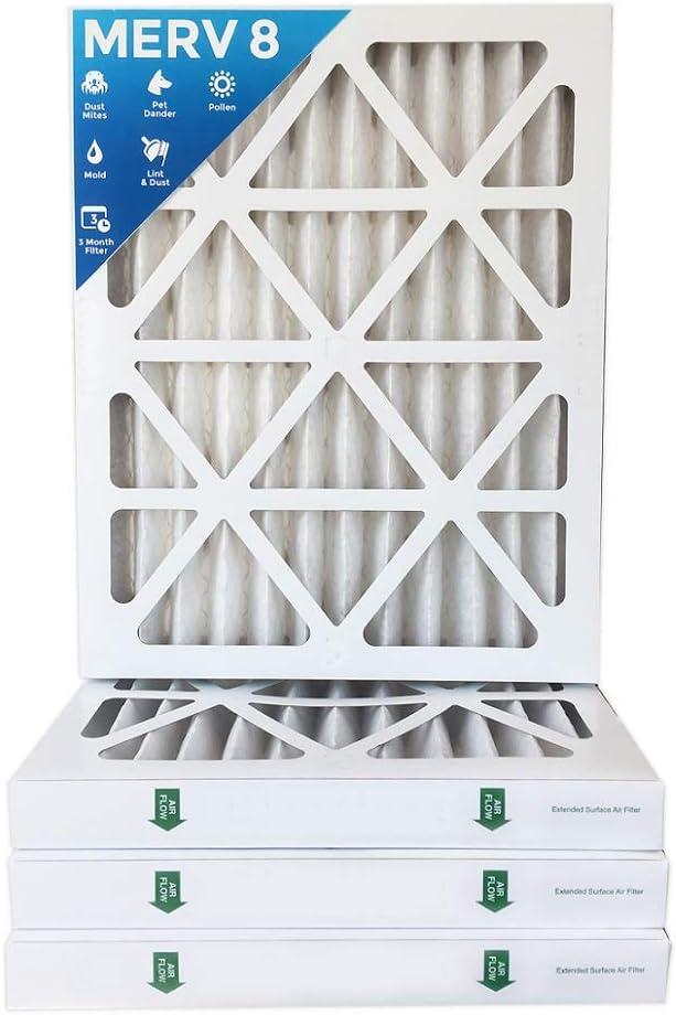 "2 Pack Actual Depth: 3-3//4/"" 20x24x4 MERV 8 AC Furnace Air Filters"