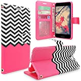 HTC One A9 Case, HTC Aero Case, Cellularvilla [Stand Feature] Zig Zag Pattern Chevron Design Premium Pu Leather Wallet Card Slots Flip Case Cover For HTC One A9 / HTC Aero (Hot Pink Chevron)