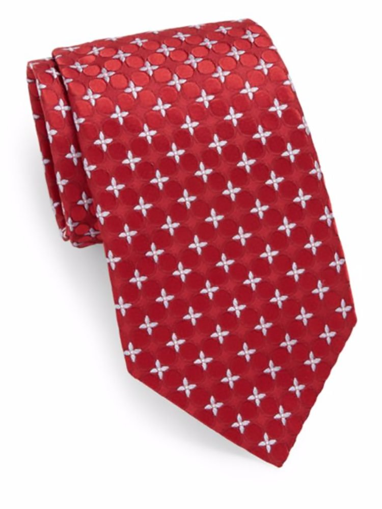 Valentino Men's Floral Circles Silk Tie, OS, Red