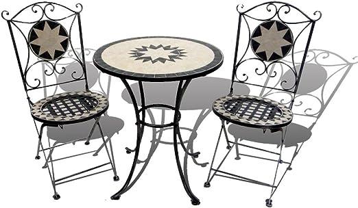 Set 1 tavolo e 2 sedie in ferro