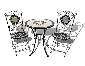 Garden Hut Mosaic Bistro Set - Une table pliante et deux chaises en ...
