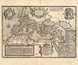 Vintage Map of the Roman Empire, 17th Century, Fine Art Reproduction