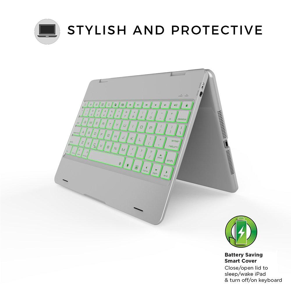 iPad Pro 9.7//iPad Air1//2 clavier Coque Becemuru r/étro-/éclairage 7 couleurs 360 Rotation clavier sans fil Bluetooth Coque pour 24,6 cm iPad Pro 9.7//iPad Air 2