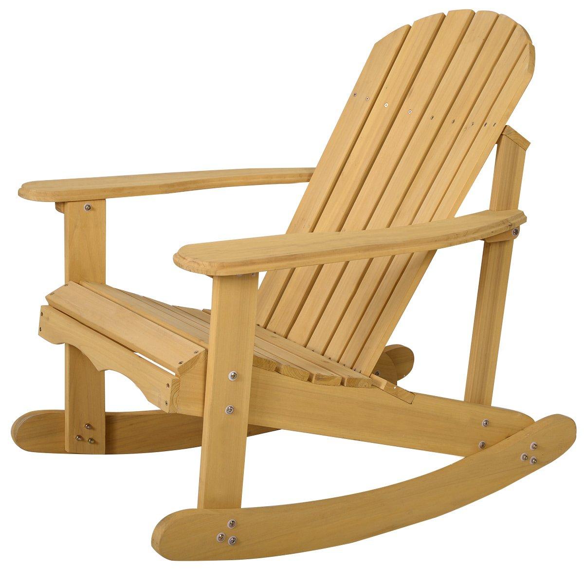 Giantex Adirondack Chair Outdoor Natural Fir Wood Rocking Chair Patio Deck Garden Furniture HW50297