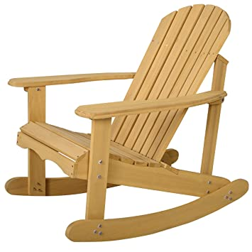 Marvelous Giantex Adirondack Chair Outdoor Natural Fir Wood Rocking Chair Patio Deck  Garden Furniture