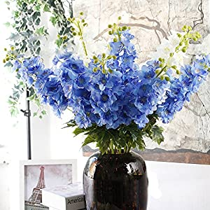 ShineBear 1PC Artificial Flowers Delphinium Flower Fall Vivid Fake Leaf Flower Real Touch Flowers for Wedding Decoration 26