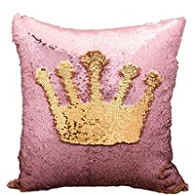 Reversible 2 Colors Mermaid Pillow Case Sequins Pillow Cases Sofa Couch Cushion Cover Throw Pillow Case(NO INSERT) (Pink/Gold)