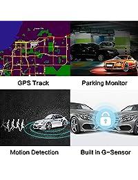 "4 K Ultra HD coche Dash Cam, 2.4"" Dash cámara WiFi GPS   azdome 170 ° gran angular, G sensor, WDR Super visión nocturna, grabación en bucle, monitor de estacionar, SOS protección, detección de movimiento, incl. 2 puertos cargador de coche"