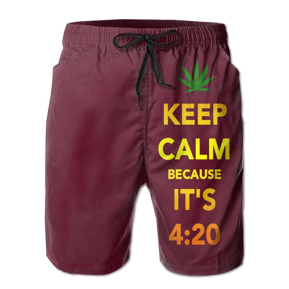 JINYOUR Weed Keep Calm 4.20 Mens Quick Dry Swim Trunks Beach Shorts Boardshorts