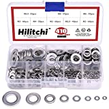 Hilitchi 410-Pcs [8-Size] 304 Stainless Steel Flat Washer Assortment Set - Size included: M2 M2.5 M3 M4 M5 M6 M8 M10