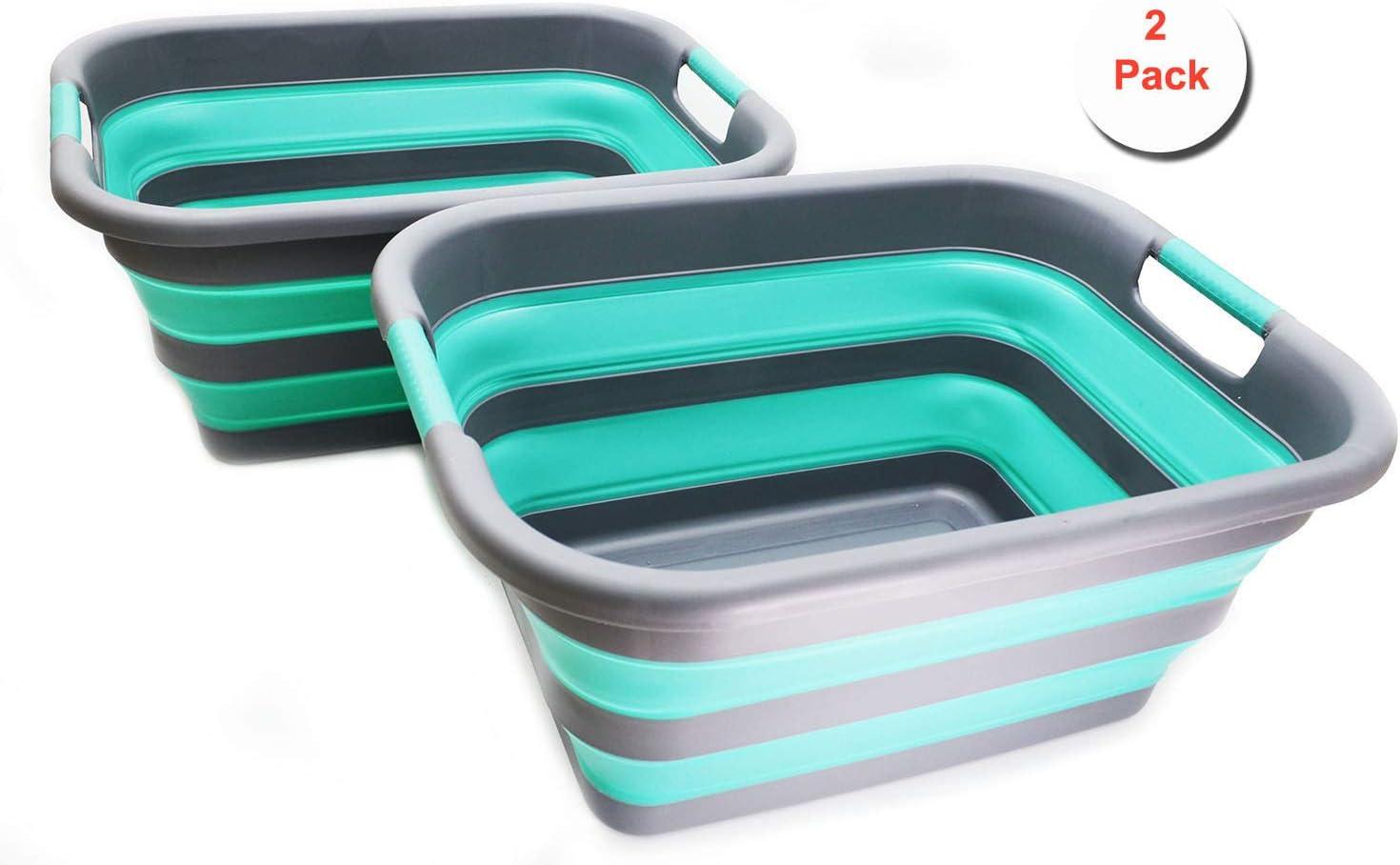 SAMMART Set of 2 Collapsible Plastic Laundry Basket - Foldable Pop Up Storage Container/Organizer - Portable Washing Tub - Space Saving Hamper/Basket (2, Grey/Turquoise Blue)